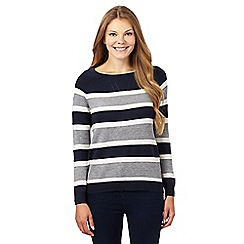 Principles by Ben de Lisi - Designers navy textured striped honeycomb jumper