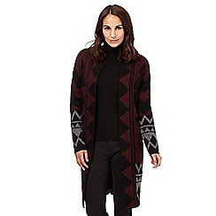 Principles by Ben de Lisi - Designer plum long length aztec cardigan