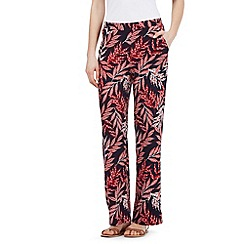 Principles by Ben de Lisi - Navy and red leaf print wide leg trousers