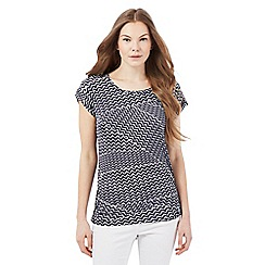 Principles by Ben de Lisi - Navy zigzag print top