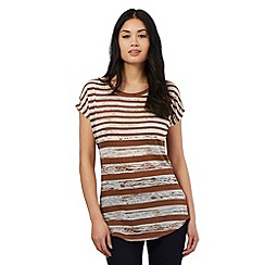 Principles by Ben de Lisi - Tan striped print t-shirt