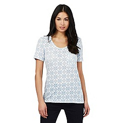 Principles by Ben de Lisi - Pale blue floral burnout t-shirt