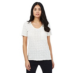 Principles by Ben de Lisi - Ivory floral burnout t-shirt