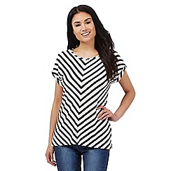 Principles by Ben de Lisi - ivory and navy chevron print top
