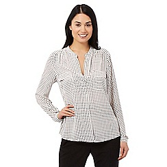 Principles by Ben de Lisi - Ivory square print top