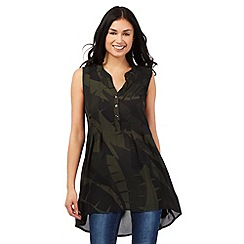 Principles by Ben de Lisi - Khaki leaf print swing top