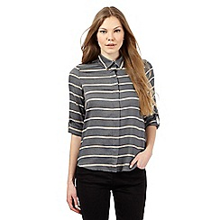 Principles by Ben de Lisi - Dark grey striped print shirt