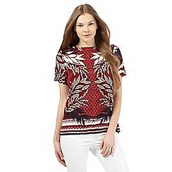 Principles by Ben de Lisi - Red short-sleeved palm print top