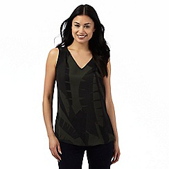Principles by Ben de Lisi - Khaki leaf print V neck vest top