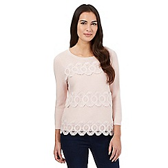 Principles by Ben de Lisi - Light pink lace striped jumper
