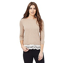 Principles Petite by Ben de Lisi - Tan lace hem jumper