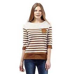 Principles by Ben de Lisi - Tan striped 2-in-1 jumper