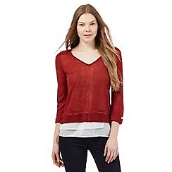 Principles by Ben de Lisi - Dark red 2-in-1 V neck jumper