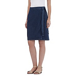 Principles by Ben de Lisi - Dark blue self tie denim skirt