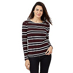 Principles Petite by Ben de Lisi - Dark purple striped print zip detail top