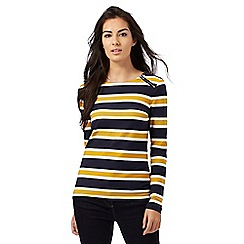 Principles by Ben de Lisi - Navy and dark yellow striped print top