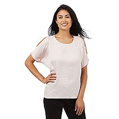 Principles by Ben de Lisi - Light pink burnout cold shoulder top