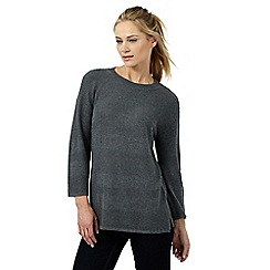 Principles by Ben de Lisi - Dark grey relaxed ribbed jumper