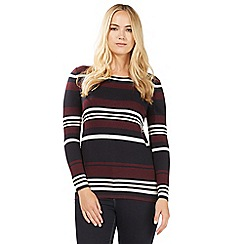 Principles by Ben de Lisi - Dark red striped print zip back jumper