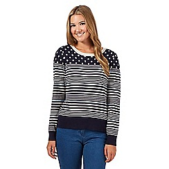 Red Herring - Navy striped and spotted jumper