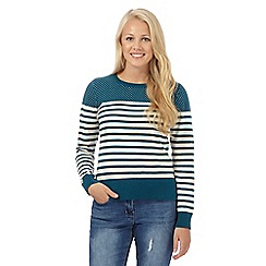 Red Herring - Dark turquoise striped crew neck jumper