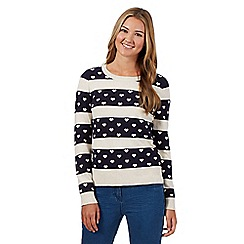 Red Herring - Navy hearts striped jumper