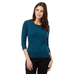Red Herring - Dark turquoise zip shoulder jumper