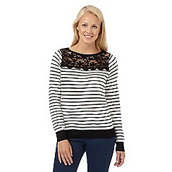 Red Herring - White striped lace jumper