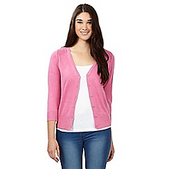 Red Herring - Pink V neck three quarter length sleeve cardigan