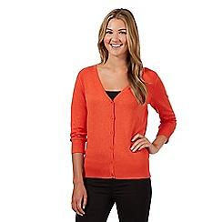 Red Herring - Orange V neck three quarter length sleeve cardigan