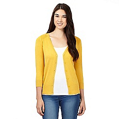 Red Herring - Mustard V neck three quarter length sleeve cardigan