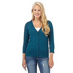 Red Herring - Dark turquoise V neck three quarter length sleeve cardigan