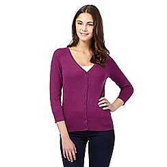 Red Herring - Purple V neck three quarter length sleeve cardigan