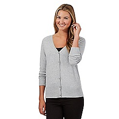 Red Herring - Grey ribbed shoulder V neck cardigan