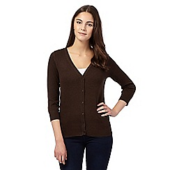 Red Herring - Brown V neck three quarter length sleeve cardigan