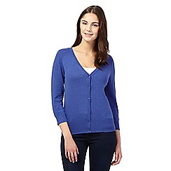 Red Herring - Blue V neck three quarter length sleeve cardigan