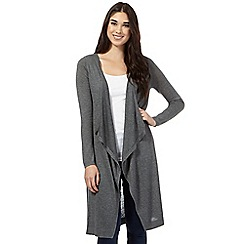 Red Herring - Grey maxi waterfall cardigan
