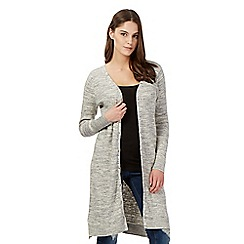 Red Herring - Grey mixed yarn ribbed cardigan
