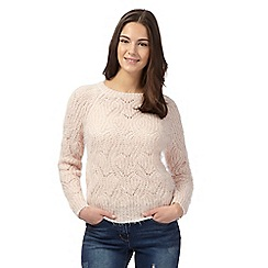 Red Herring - Light pink pointelle feather jumper