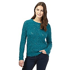Red Herring - Turquoise pointelle feather jumper