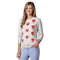 Red Herring - Light grey striped hearts jumper