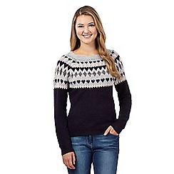 Red Herring - Navy Fair Isle heart jumper