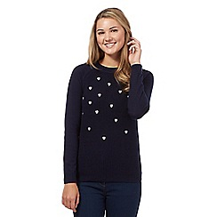 Red Herring - Navy embroidered hearts jumper