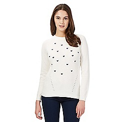 Red Herring - Ivory butterfly knit jumper