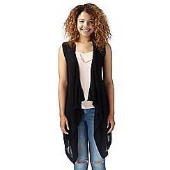 Red Herring - Black sleeveless waterfall cardigan