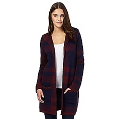 Red Herring - Maroon checked hooded cardigan