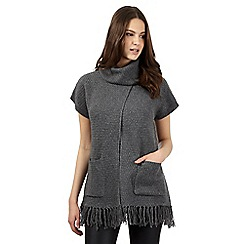 Red Herring - Grey high neck tassel jumper