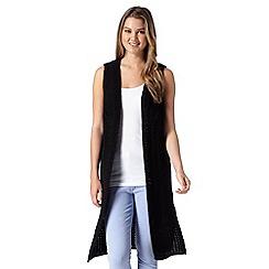 Red Herring - Black chunky knit long waistcoat