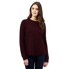 Red Herring - Purple wool blend cable knit jumper