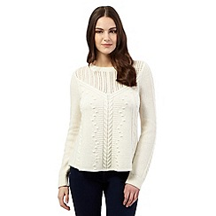 Red Herring - Ivory pointelle cable knit jumper